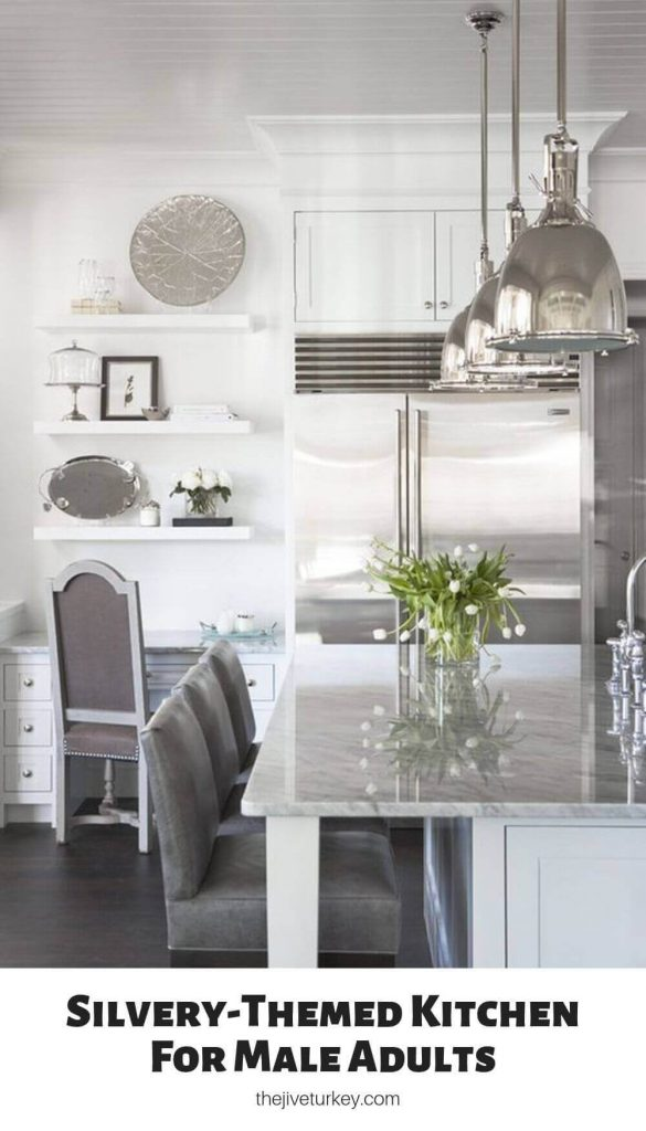 Silvery-Themed Kitchen For Male Adults